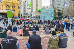 Street performer entertaining the crowd at Federation Square in Melbourne. Melbourne, Australia - August 8, 2015: Street performer entertaining the crowd at Stock Photography