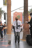 Street performer. HOLLYWOOD,CA - Nov 1, 2015: Street performer for tips on the world famous walk of fame on Hollywood blvd in Hollywood, CA Royalty Free Stock Photos
