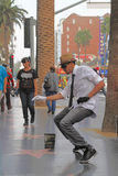 Street performer. HOLLYWOOD,CA - Nov 1, 2015: Street performer for tips on the world famous walk of fame on Hollywood blvd in Hollywood, CA Stock Image