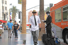 Street performer. HOLLYWOOD,CA - Nov 1, 2015: Street performer for tips on the world famous walk of fame on Hollywood blvd in Hollywood, CA Royalty Free Stock Photography