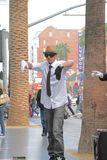 Street performer. HOLLYWOOD,CA - Nov 1, 2015: Street performer for tips on the world famous walk of fame on Hollywood blvd in Hollywood, CA Royalty Free Stock Image