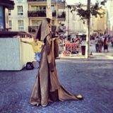 Street performer. Human statue street performer during Avignon's theater festival Stock Photography