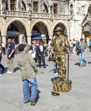 Street performer at Marienplatz in Munich Stock Images
