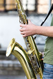 Street performer playing a saxophone Royalty Free Stock Images