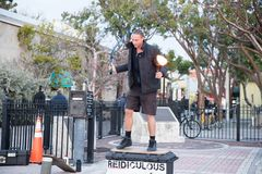 Street performer shows stunts on Mallory Square. Of Key West, Florida. January 18, 2018 Stock Images