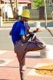 Street Performer in Soweto South Africa. Johannesburg, South Africa, September 11, 2011, Street Performer Outside Nelson Mandela`s house in Vilakazi Street Royalty Free Stock Images