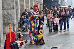 Street performer. In Milan, Italy stock photos