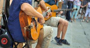 Street performers with guitar Stock Photos