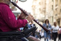 Clarinet performer. Street performers in Istiklal street - Istanbul / Turkey royalty free stock photography