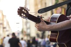 Guitar performer. Street performers in Istiklal street - Istanbul / Turkey royalty free stock image