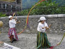 Street performers in Lanestosa's medieval market Stock Images