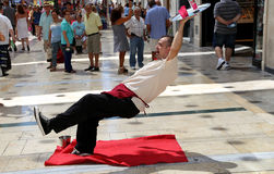 Street performers on the Larios street, the main street of Malaga, Andalusia, Spain Stock Photography