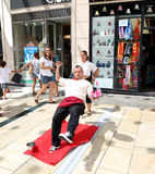 Street performers on the Larios street, the main street of Malaga, Andalusia, Spain Stock Images