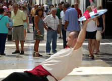 Street performers on the Larios street, the main street of Malaga, Andalusia, Spain Stock Image