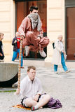 Street Performers, Levitation Man In Center Of Prague. Stock Image