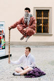 Street Performers, Levitation Man In Center Of Prague. Stock Photos
