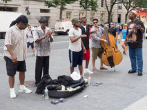 Street performers singing and playing music in New York Royalty Free Stock Images