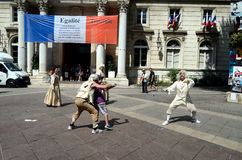 Street Performers, Swordplay, Avignon, France Stock Photo