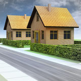 Street perspective with two new houses and sky stock illustration