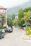 Street in Petrovac, Montenegro royalty free stock photos