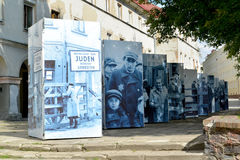 The street photo exhibition devoted to the 70 anniversary of elimination of the Jewish ghetto in the city of Lodz, Poland Stock Photo