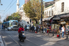 Street Photo of Istanbul City with Tram and Crowd walking Stock Image