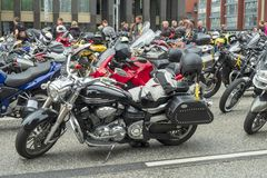 Motorcycles in the festival MoGo 35. Street photo. MoGo 35 festival of bikers Hamburg Germany 10 June 2018.The motorcycles befor the parade Stock Photos