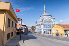 Street photo with mosque Fatih Camii Stock Image