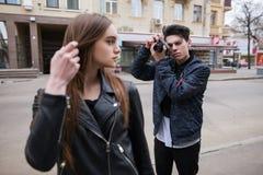 Street photo shoot process. Creative lifestyle Royalty Free Stock Image