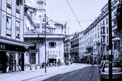 Street picture in black and white with rails stock image