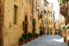 A street of Pienza, Tuscany, Italy Royalty Free Stock Images