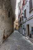 Street of Piran. Narrow street in the old town of Piran Royalty Free Stock Image