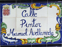 Street plaque in Murcia, Spain. Traditional decorated ceramic street plaque in Murcia, Spain Stock Photo