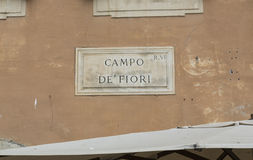 Street plate of famous Campo de Fiori in Rome. Royalty Free Stock Images