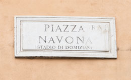 Street plate of famous Piazza Navona in Rome Stock Photos