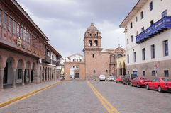 Street by Plaza de Armas in the center of Cuzco. Royalty Free Stock Images