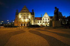 Street and plaza in Poznan by night Royalty Free Stock Photography