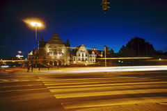 Street and plaza in Poznan by night Royalty Free Stock Photos