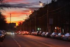 Street in Podolsk town. Russia Stock Photo
