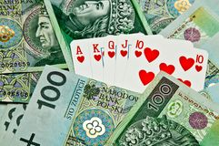 Street poker cards and money Stock Image