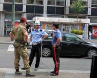 Street policeman, carabinier and trooper Stock Image