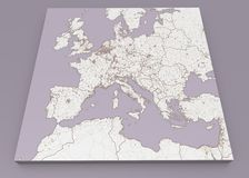 Street and political map of Europe and North Africa. European cities. Political map with the border of the states. Urban areas. Street directory, atlas Stock Photography