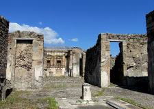 The street of Pompei ancient Roman ruins - Pompei Scavi Royalty Free Stock Image