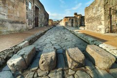 Street in Pompei ruins, Italy. royalty free stock images
