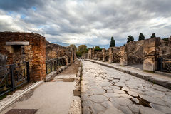 Street in Pompeii scavi Italy. Stock Photos
