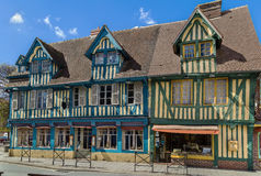 Street in  Pont-l'Eveque, France. Picturesque half-timbered houses in  Pont-l'Eveque, Calvados, France Stock Images