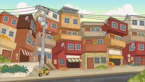 Street of poor neighborhood in the city. Slum. Favela royalty free illustration
