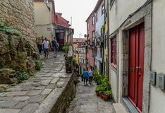 A street in Porto - Portugal. Porto/Portugal - 09/22/18 - The hilly streets in Porto royalty free stock photo