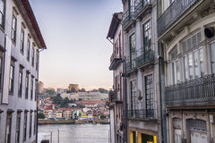 Street in Porto, Portugal, view at Douro river Royalty Free Stock Image