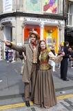 Street Portrait at Edinburgh Festival Fringe. People dressed in traditional costumes at street. Edinburgh Festival Fringe, scotland Stock Photos